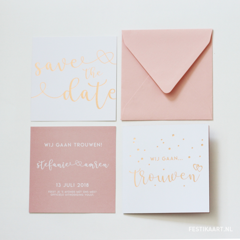 Trouw-kaart-trouwkaart-uitnodiging-wedding-stationary-save-the-date-wij-gaan-trouwen-confetti-simplistisch-strak-koper-folie-koperfolie-foliedruk-roze-oudroze-letterpress3